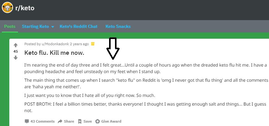 keto flu reddit
