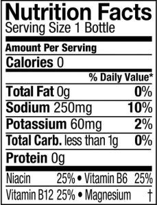 powerade zero nutrition label facts