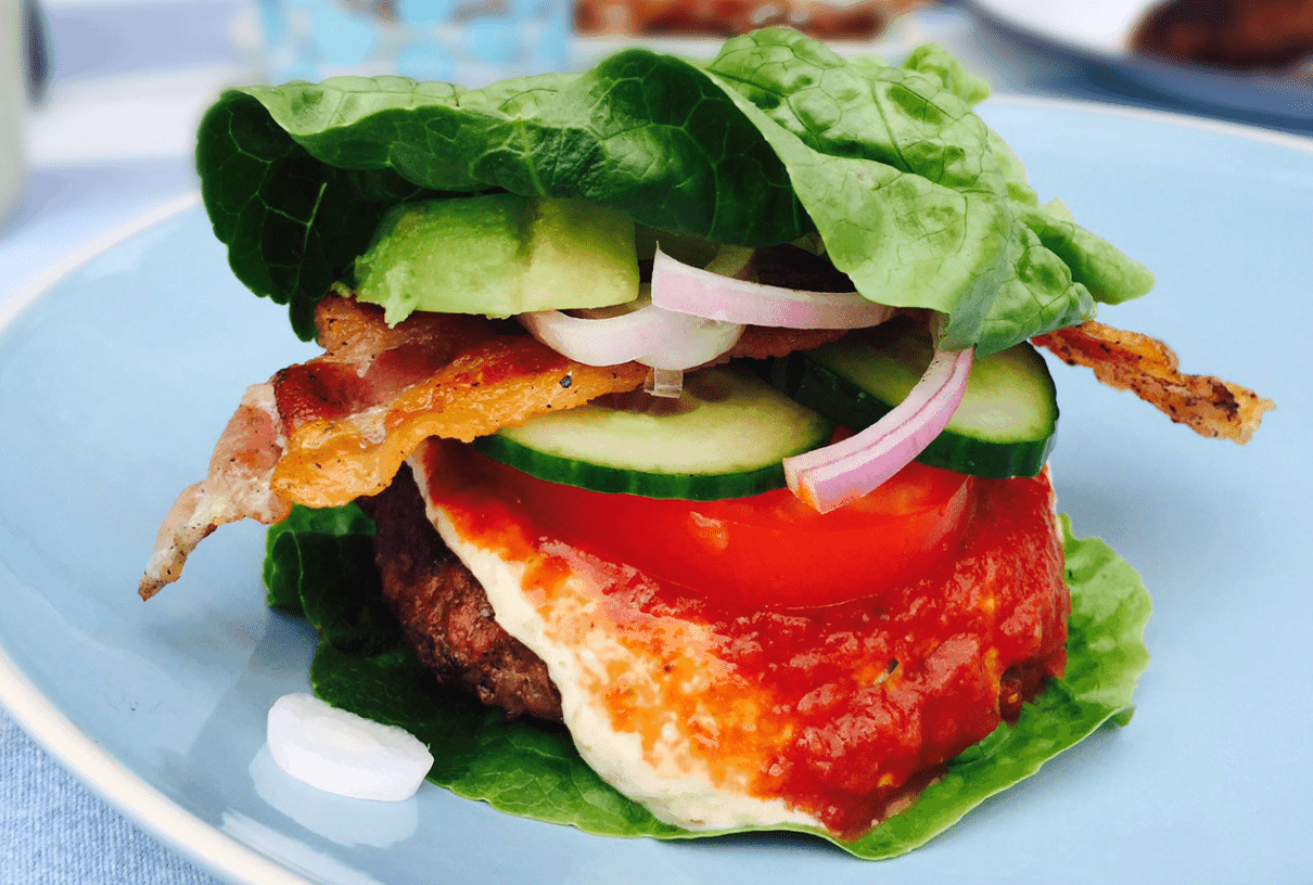 Keto Whatabuger option Avocado Bacon Burger Without The Bun & Ketchup